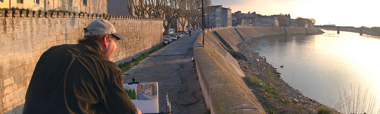Photo of John Hulsey Painting en Plein Air in Watercolor in Arles, France