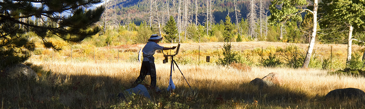 Photo of Artist Painting en Plein Air in Rocky Mountain National Park, Colorado