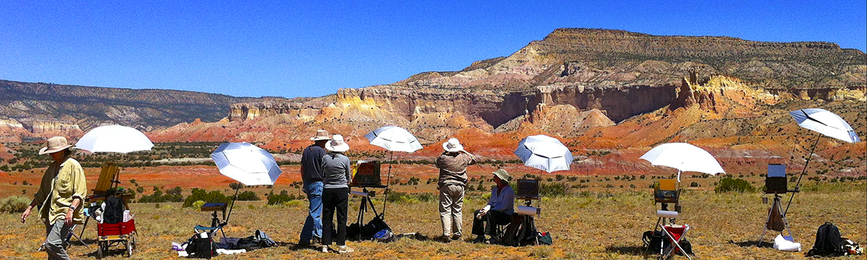 Photo of John Hulsey and Ann Trusty Painting Workshop in Abiquiu, New Mexico