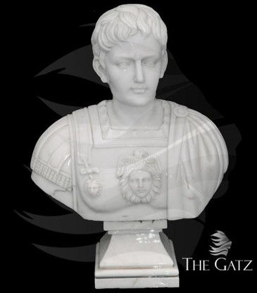 ELEGANT CLASSIC MARBLE BUST CARVED IN OLD EUROPEAN DESIGN