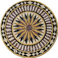 "BEAUTIFUL STAR BURST MARBLE MOSAIC TILE, RELIEF OR TABLE TOP, ROUND 40"" WIDE"