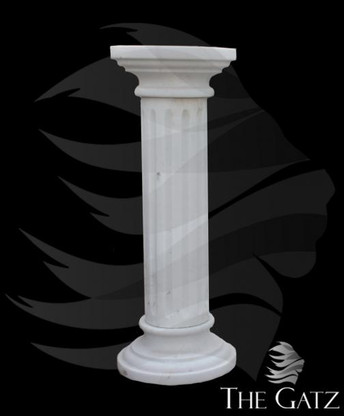 HAND CARVED WHITE MARBLE PEDESTAL, FLUTED WITH ROUND TOP