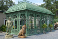 Victorian Style Garden Conservatory with Enclosed Roof, & Glass Windows, 28 Ft Long