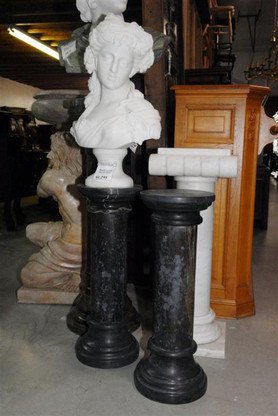 Black marble pedestal, all carved from solid blocks of marble. Breaks down into three pieces for easy handling. Measures: 26.5 tall x 9.5 wide.