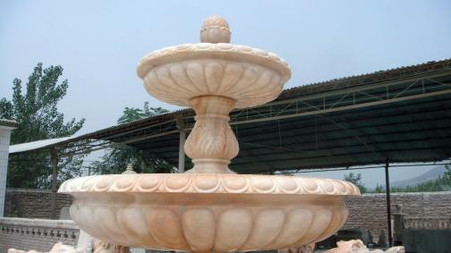 This is a newly carved marble fountain. All hand carved from solid block sun glow marble. This is one of the highest quality marbles on the market. The lions were specially hand carved at a factory specializing in marble lions and then paired with the surround and bowls. Water cascades from the top to the collection pool. Measures: 237 wide x 109 tall.  Before purchasing, please contact us for availability and shipping quote.