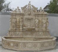 ENORMOUS LARGE WALL STYLE MARBLE FOUNTAIN WITH BASIN, CARVINGS INCLUDE CHERUBS & FIGURES 97-00035 T-1109