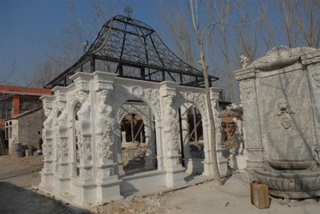 LARGE VICTORIAN MARBLE GAZEBO WITH STUNNING CAST IRON DOME, FIGURAL AND FLORAL CARVINGS