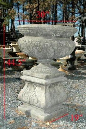 "We are offering this new victorian urn with pedestal. The urn and pedestal are made from cast concrete. They measure: 44.5\""H"