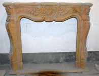 French design marble fireplace mantel. Pictures are a little dusty from when I hand picked during a buying trip. Nice detail in the carvings and a very traditional design. Measures: 59 wide x 47.25 tall x 11.75 deep. Opening Measures: 38 wide x 34.25 tall.  Before purchasing please contact us for availability and for a shipping quote.