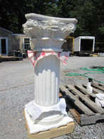 "CORINTHIAN MARBLE PEDESTAL WITH TRADITIONAL FLUTED SHAFT, 33.5"" TALL"