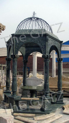 "LARGE GREEN MARBLE GARDEN GAZEBO WITH METAL DOMED TOP AND BENCH SEATING. 187"" TALL"