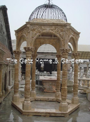 HAND CARVED MARBLE GAZEBO Measures: 14.8 feet high x 8 1/2 feet in diameter 12pieces of slab, each one is W:30xH:12cm, W is from inside to outside, if the customer want, we can do with 6pcs of slab. the size from corner to corner on the cross is L:260cm. 4000kgs, packing in 5crates and one package with iron top.