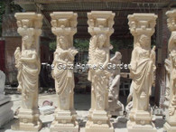 "IMPRESSIVE CARVINGS ON THIS SET OF FOUR SEASONS MARBLE COLUMNS IN EGYPTIAN BEIGE, 100"" TALL"