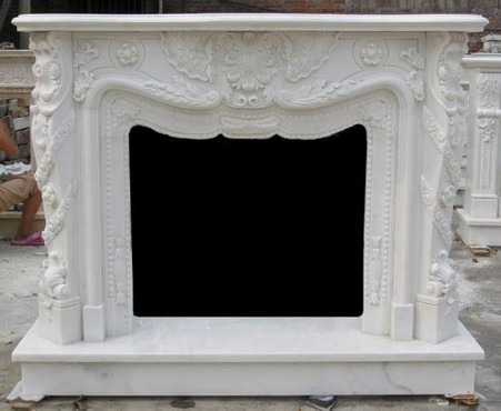 French Inspired Marble Fireplace Mantel And Surround Heavy Carvings 10 05216 Thegatz