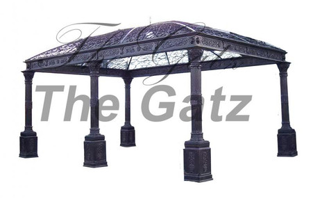 FABULOUS LARGE IRON GAZEBO PAVILION FEATURES CORINTHIAN CAPITALS