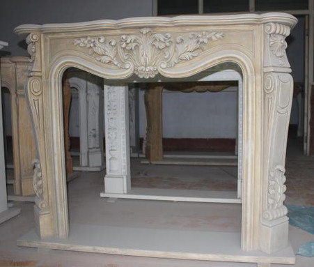 Classic French Design Hand Carved Marble Fireplace Mantel Acanthus Reliefs And Floral Swags