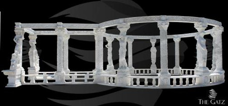 Massive Marble garden gazebo. There is not much to say about this piece, the pictures really speak for themselves. We just finished this for a customer in the LA region and it turned out amazing. Worked with the customer to create a custom piece that could be used as part of an expansion on their house that will host a pool in the center of the gazebo. We can produce this model in different scaled versions. This is carved from all solid blocks of marble. We can custom build any marble structures to your demands. Give us a call to discuss your project! All future orders are considered a special order, inquire for more details.  Measures 28 feet wide x 51 feet long x 11 feet tall.  Before purchasing, please contact us for availability and shipping quote.
