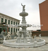 LARGE GRAND WHITE MARBLE FOUNTAIN, CARVINGS OF LIONS, BIRDS & FIGURAL 25FT TALL, INCLUDES