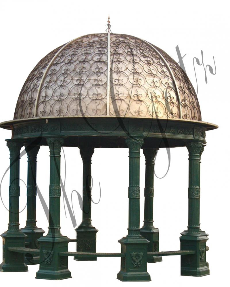 Cast Iron Garden Gazebo Includes Covered Dome And Bench