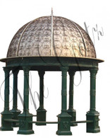 CAST IRON GARDEN GAZEBO INCLUDES COVERED DOME AND BENCH SEATING, 20FT TALL
