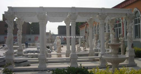 LARGE RECTANGULAR MARBLE ENTRY OR PERGOLA IN WHITE MARBLE