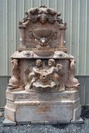 HAND CARVED MARBLE WALL FOUNTAIN, CARVINGS OF CHERUBS AND KOI FISH