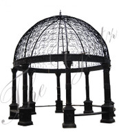 LARGE VICTORIAN STYLE CAST IRON GAZEBO, DOMED ROOF, BENCH SEATING 20FT TALL