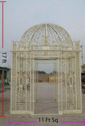 LARGE SQUARE IRON GAZEBO OR CONSERVATORY, OPEN DESIGN MEASURES 11FT WIDE AND 17FT TALL