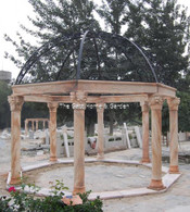 LARGE MARBLE RED TONE GAZEBO WITH OPEN DOME IRON ROOF 13 1/2 FEET TALL