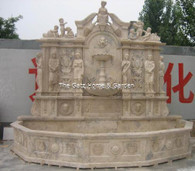 MARBLE FOUNTAIN IN TRAVERTINE MARBLE FEATURES DELIGHTFUL STATUES THROUGHOUT