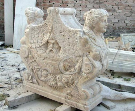 "HEAVILY CARVED FIGURAL MARBLE VICTORIAN TABLE BASE 29.5"" TALL"