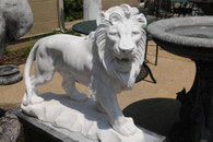 HAND CARVED SOLID WHITE MARBLE LIONS STANDING ON BLACK MARBLE BASES