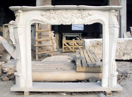 Hand Carved French Style White Marble Fireplace Mantel Thegatz