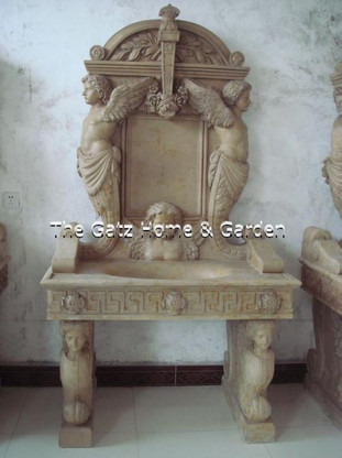 Carved marble Sink Measures: 6.9 feet high x 3.8 feet high x 2 feet deep.  Before purchasing please contact us for availability and for a shipping quote.