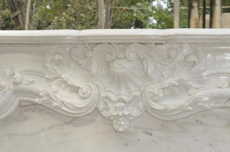 HAND CARVED FRENCH DESIGN MARBLE FIREPLACE MANTEL