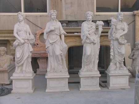 Superieur LIFE SIZE SET OF WHITE MARBLE GARDEN STATUES OF THE FOUR SEASONS, 78 TALL