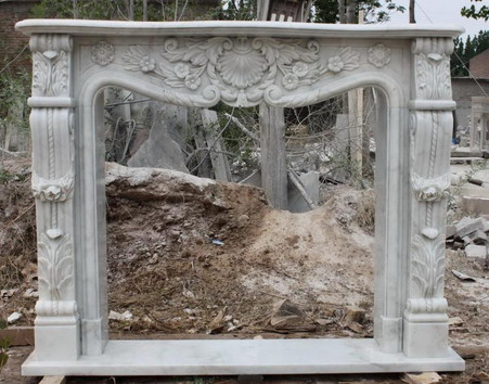 FRENCH DESIGN HAND CARVED WHITE MARBLE MANTEL