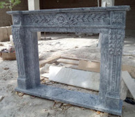 HAND CARVED CLASSIC FIREPLACE MANTEL IN GRAY MARBLE Dimensions:Whole size is L: 63.8 x H: 48 x W: 11.8, Opening is L: 42 x H: 36.