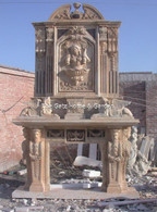 MONUMENTAL MARBLE FIREPLACE MANTEL WITH SURROUND AND OVERMANTEL OVER 11 FEET TALL