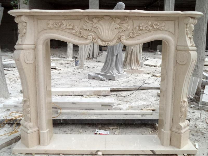 Hand Carved French Style Marble Fireplace Mantel In Egypt Beige Floral Carvings 10 07400a Thegatz