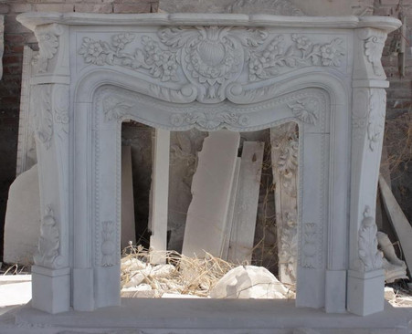 Intricate White Marble Fireplace Mantel, French Design - thegatz