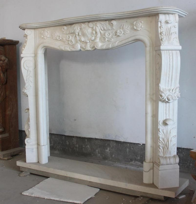 Hand Carved White Marble fireplace mantel, French Design with Floral Carvings