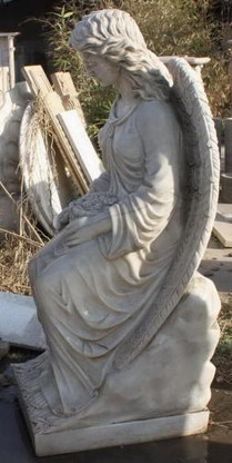 HAND CARVED WOMAN SITTING ANGEL, GOOD CHURCH OR CEMETERY STATUE, RELIGIOUS