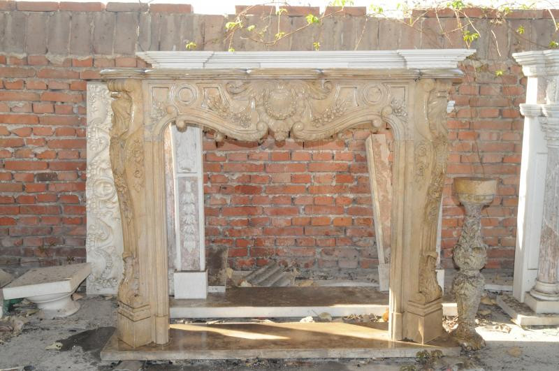 Hand Carved French Rococo Marble Fireplace Mantel Beige