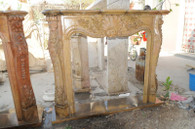 Hand carved marble fireplace mantel in Local Beige. French rococo design with flowers and curved legs.  Dimensions: Whole size is L: 59 x H: 49.6 x W: 12.2 (Inches), Opening is L: 37.4 x H: 35.8 (Inches) ISN. Before purchasing, please contact us for availability and shipping quote.