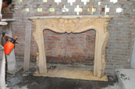"HAND CARVED BEIGE MARBLE FIREPLACE MANTEL FRENCH DESIGN  Dimensions:  59""L x 47.2""H x 11.8""W, Opening is 7.8""L x 34.3""H."
