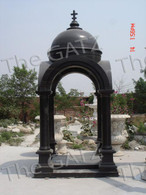 "TALL BLACK MARBLE WEDDING GARDEN GAZEBO FEATURES DORIC COLUMNS, 149"" TALL"