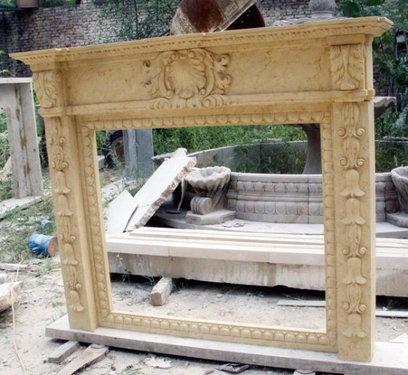 "HAND CARVED FRENCH DESIGN MARBLE FIREPLACE MANTEL WITH OVERMANTEL, 110"" TALL"