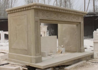 "MASSIVE MARBLE FIREPLACE MANTEL, SIMPLE DESIGN IN BEIGE MARBLE, 112"" WIDE"