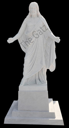 HAND CARVED WHITE MARBLE STATUE OF JESUS WITH HANDS OUT ON PEDESTAL NICE CHURCH OR CEMETERY STATUE, RELIGIOUS
